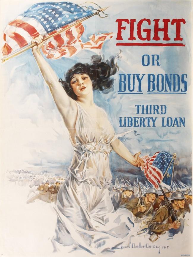 Fight Buy Bonds World War I US Military Vintage Poster