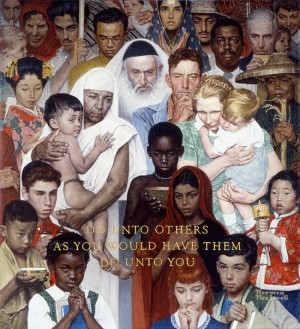 Golden Rule, 1961. Cover illustration for The Saturday Evening Post, April 1, 1961. Norman Rockwell Museum Collections. ©SEPS: Curtis Publishing, Indianapolis, IN