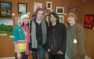 Photo of Students and their work, Berkshire County High School Art Show. ©Norman Rockwell Museum. All rights reserved.