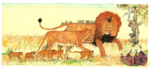 "Illustration from ""The Lion & the Mouse,"" Jerry Pinkney, 2009."
