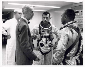 Photo of Norman Rockwell with astronauts Grissom and Young, 1964. Courtesy of NASA. All rights reserved.