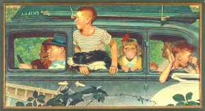 """Going and Coming"" (detail), Norman Rockwell, 1947. Oil on canvas, 16"" x 31 ½"" Cover illustration for ""The Saturday Evening Post,"" August 30, 1947. Norman Rockwell Museum Collections. ©1947 SEPS: Licensed by Curtis Publishing, Indianapolis, IN"