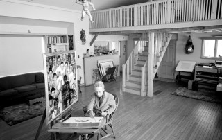 "Photo of Norman Rockwell working on ""Golden Rule,"" Bill Scovill."