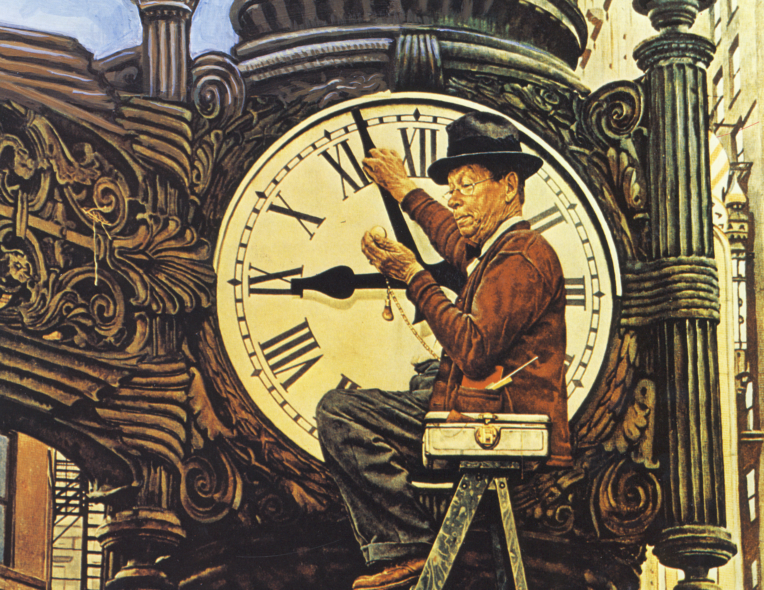 Man Setting Clock - Norman Rockwell Museum Annual Reports