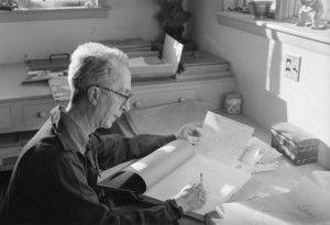 Norman Rockwell answering fan correspondence in his studio; Stockbridge, Massachusetts, c.1971. Photograph attributed to Louie Lamone.