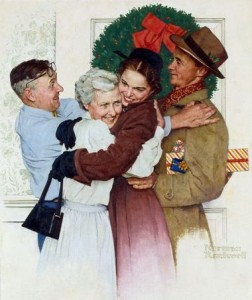 """Home for Christmas,"" Norman Rockwell, 1955."