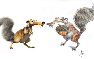"""Scrat from """"Ice Age"""": digital still, and character study by Peter de Sève. ™ & ©Twentieth Century Fox Film Corporation. All Rights Reserved."""