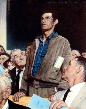 """Freedom of Speech,"" Norman Rockwell, 1943. Story illustration for ""The Saturday Evening Post,"" February 20, 1943. Norman Rockwell Museum Collections. ©1943 SEPS: Curtis Publishing, Indianapolis, IN."