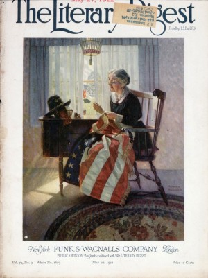 """""""Mending the Flag,"""" Norman Rockwell, 1922. Cover illustration for """"Literary Digest,"""" May 27, 1922. Norman Rockwell Digital Collections. ©NRELC: Niles, IL."""