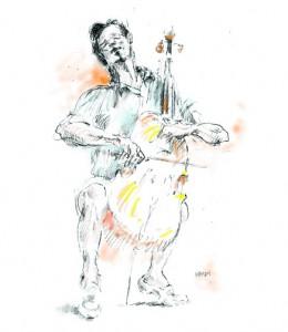 Illustration of Yo Yo Ma by Sol Schwartz. ©Sol Schwartz. All rights reserved.