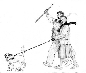 """Portrait of Norman and Molly Rockwell Walking Pitter,"" Norman Rockwell, 1962. Original drawing for 1962 Rockwell Christmas card. Norman Rockwell Museum Collection. All rights reserved."