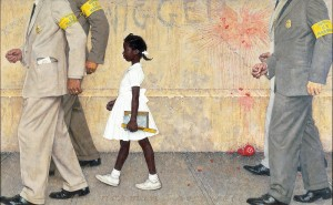 """The Problem We All Live With,"" Norman Rockwell, 1963. Oil on canvas, 36"" x 58"". Illustration for ""Look,"" January 14, 1964. Norman Rockwell Museum Collection. ©NRELC, Niles, IL."