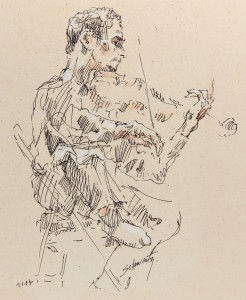 Sketch of violinist Jory Fankuchen at Tanglewood, 2003, by Sol Schwartz. ©2003 Sol Schwartz. All rights reserved.