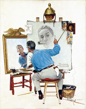 """Triple Self-Portrait,"" Norman Rockwell, 1959 Oil on canvas, 44 ½"" x 34 1/3"". Cover illustration for ""The Saturday Evening Post,"" February 13, 1960. Norman Rockwell Collections. ©1959 SEPS: Curtis Publishing, Indianapolis, IN"