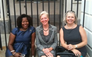 From left to right: Norman Rockwell Museum Trustee Ruby Bridges Hall, President Anne Morgan, and Director/CEO Laurie Norton Moffatt, wait outside the west entrance of the White House to meet with President Barack Obama. Photo ©Norman Rockwell Museum. All rights reserved.