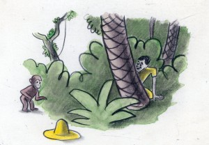 "H. A. Rey, final illustration for ""One day George saw a man. He had on a large yellow straw hat,"" published in ""The Original Curious George"" (1998). © 2010 by HMH."