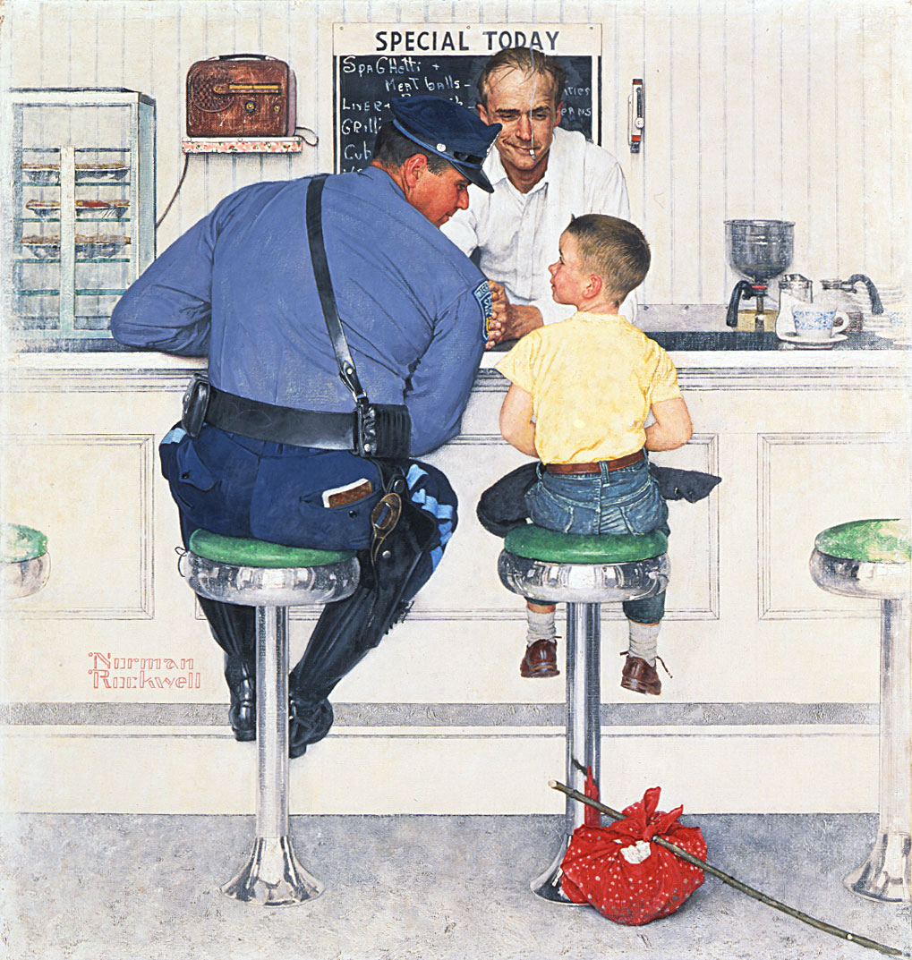"""The Runaway,"" Norman Rockwell, 1958. Cover illustration for ""The Saturday Evening Post,"" September 20, 1958. Norman Rockwell Museum Collections. ©1958 SEPS: Curtis Publishing, Indianapolis, IN"