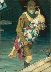 """""""A Scout is Helpful,"""" Norman Rockwell, 1941. Oil on canvas. Painting for 1941 Boy Scouts of America calendar. 34"""" x 24"""". Norman Rockwell Museum Collections. ©NRELC: Niles, IL."""