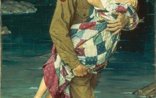 """A Scout is Helpful,"" Norman Rockwell, 1941. Oil on canvas. Painting for 1941 Boy Scouts of America calendar. 34"" x 24"". Norman Rockwell Museum Collections. ©NRELC: Niles, IL."
