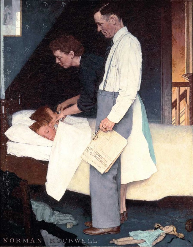 """Freedom from Fear,"" Norman Rockwell. 1943. Story illustration for ""The Saturday Evening Post,"" March 13, 1943 Norman Rockwell Museum Collections. ©1943 SEPS: Curtis Publishing, Indianapolis, IN"