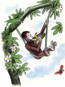 "H. A. Rey, final illustration for ""This is George. He lived in Africa,"" published in ""The Original Curious George"" (1998), France, 1939–40, watercolor, charcoal, and color pencil on paper. H. A. & Margret Rey Papers, de Grummond Children's Literature Collection, McCain Library and Archives, The University of Southern Mississippi. Curious George, and related characters, created by Margret and H. A. Rey, are copyrighted and trademarked by Houghton Mifflin Harcourt Publishing Company. © 2010 by HMH."