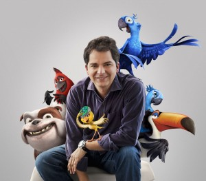 "Blue Sky Studios Animation Director Carlos Saldanha and characters from ""Rio."" Courtesy 20th Century Fox and Blue Sky Studios. All rights reserved."