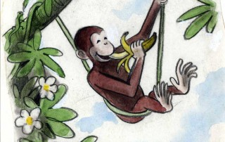 "H. A. Rey, final illustration for ""This is George. He lived in Africa,"" published in ""The Original Curious George"" (1998), France, 1939–40, watercolor, charcoal, and color pencil on paper. H. A. & Margret Rey Papers, de Grummond Children's Literature Collection, McCain Library and Archives, The University of Southern Mississippi."