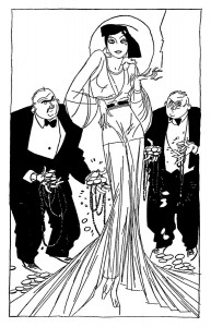 Black and white illustration created by Russell Patterson (1896-1977). All rights reserved. Courtesy S. Jaleen Grove.