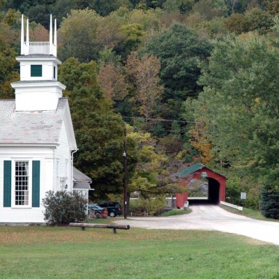 2009 photo of the old covered bridge located down the street from Norman Rockwell's West Arlington, Vermont, home. Photo by Norman Rockwell Museum. All rights reserved.