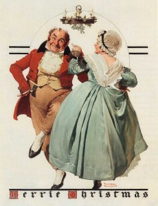 """Merrie Christmas: Couple Dancing under Mistletoe,"" Norman Rockwell, 1928. Oil on canvas. Cover illustration for ""The Saturday Evening Post,"" December 8, 1928. Collection of Bank of America. ©1928 SEPS: Curtis Publishing, Indianapolis, IN."