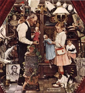 """""""April Fool: Girl with Shopkeeper,"""" Norman Rockwell. 1948. ©1948 SEPS: Curtis Publishing, Indianapolis, IN"""