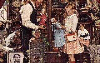 """April Fool: Girl with Shopkeeper,"" Norman Rockwell. 1948. ©1948 SEPS: Curtis Publishing, Indianapolis, IN"