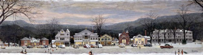 """Stockbridge Mainstreet at Christmas (Home for Christmas),"" Norman Rockwell, 1967. Oil on canvas, 26 ½"" x 95 ½"" Story illustration for ""Home for Christmas"" McCall's, December 1967. Norman Rockwell Museum Collections. ©NRELC: Niles, IL."