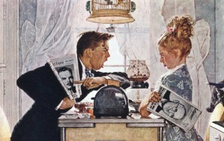 """Breakfast Table Political Argument"" (detail), Norman Rockwell, 1948. Norman Rockwell Museum Digital Collections. ©1948 SEPS: Curtis Publishing, Indianapolis, IN."