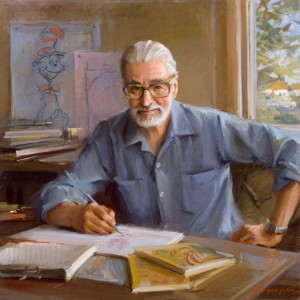 "Portrait of Theodore Geisel (""Dr. Seuss""), Everett Raymond Kinstler, 1982. 44"" x 44"". Collection of the Hood Museum, Dartmouth College. Artwork ©1982 Everett Raymond Kinstler. All rights reserved."