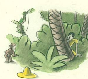 "H. A. Rey, detail of final illustration for ""One day George saw a man. He had on a large yellow straw hat,"" published in ""The Original Curious George"" (1998), France, 1939–40, watercolor, charcoal, and color pencil on paper. H. A. & Margret Rey Papers, de Grummond Children's Literature Collection, McCain Library and Archives, The University of Southern Mississippi. Curious George, and related characters, created by Margret and H. A. Rey, are copyrighted and trademarked by Houghton Mifflin Harcourt Publishing Company. © 2010 by HMH."