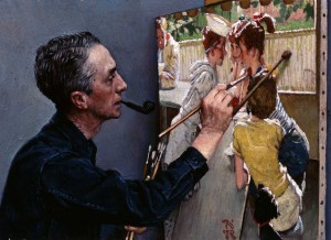 """Portrait of Norman Rockwell Painting 'The Soda Jerk,'"" 1953. Private Collection. ©NRELC: NIles, IL."