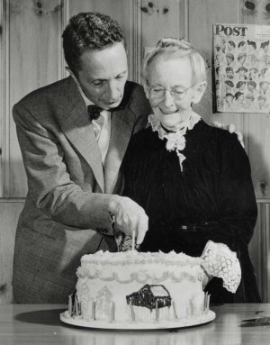 Photo of Norman Rockwell and Grandma Moses, circa 1949. Photographer unknown. Norman Rockwell Museum Digital Collections. ©NRELC: Niles, IL.