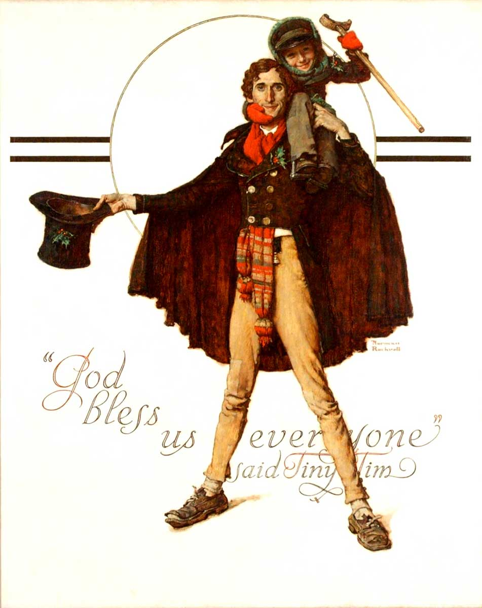 """""""Tiny Tim and Bob Cratchit (God Bless Us Everyone),"""" Norman Rockwell, 1934. Cover illustration for """"The Saturday Evening Post,"""" December 8, 1923. Oil on canvas. Private collection. ©SEPS: Curtis Publishing, Indianapolis, IN."""