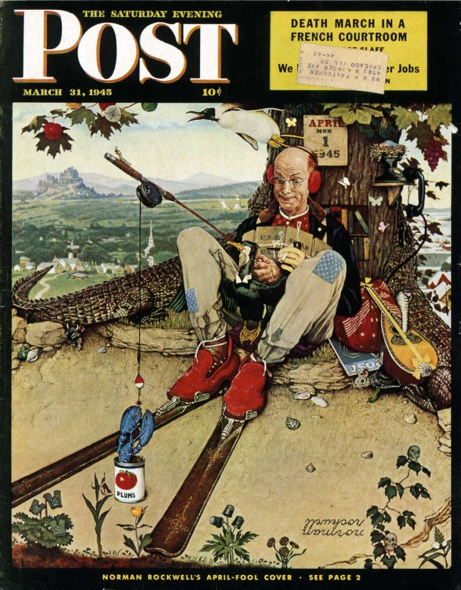 "April Fool: Fishing,"" Norman Rockwell. 1945. Cover illustration for ""The Saturday Evening Post,"" March 31, 1945. Norman Rockwell Museum Digital Collections. ©1945 SEPS: Curtis Publishing, Indianapolis, IN"