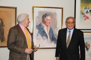 "Portraitist Everett Raymond Kinstler and friend Tony Bennett at the opening of ""Everett Raymond Kinstler: Pulps to Portraits"" on March 10, 2012. Photo ©Norman Rockwell Museum. All rights reserved."