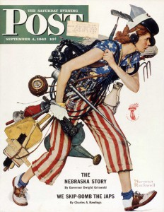"""Liberty Girl,"" Norman Rockwell, 1943. Cover illustration for ""The Saturday Evening Post,"" September 4, 1943. Norman Rockwell Museum Digital Collections ©1943 SEPS: Curtis Publishing, Indianapolis, IN Currently on view in the Norman Rockwell Museum exhibition ""Norman Rockwell's 323 'Saturday Evening Post' Covers"""