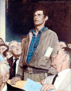 """Freedom of Speech,"" Norman Rockwell. 1943. Oil on canvas, 45 ¾"" x 35 ½"". Story illustration for ""The Saturday Evening Post,"" February 20, 1943. Norman Rockwell Museum Collections. ©1943 SEPS: Curtis Publishing, Indianapolis, IN"