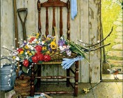 """""""Spring Flowers,"""" Norman Rockwell. 1969. Oil on canvas, 30 3/8"""" x 25"""". Story illustration for """"McCall's,"""" May 1969. Norman Rockwell Museum Collections. ©NRELC: Niles, IL."""