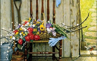"""Spring Flowers,"" Norman Rockwell. 1969. Oil on canvas, 30 3/8"" x 25"". Story illustration for ""McCall's,"" May 1969. Norman Rockwell Museum Collections. ©NRELC: Niles, IL."