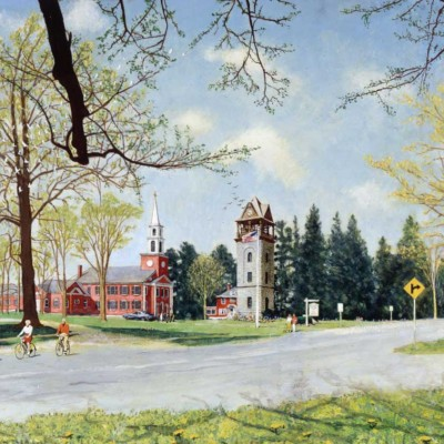 """Springtime in Stockbridge,"" Norman Rockwell, 1971. Oil on canvas, 32"" x 68"". Story illustration for ""Look,"" June 1, 1971. Norman Rockwell Museum Collections. ©NRELC: Niles, IL"