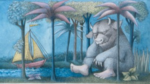 """Final drawing for """"Where the Wild Things Are."""" Pen and ink, watercolor.  © Maurice Sendak, 1963, all rights reserved. Courtesy, Rosenbach Museum & Library."""