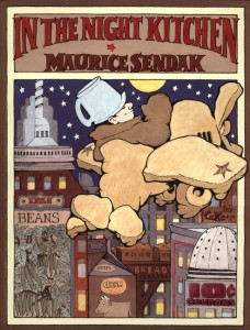 "Dust jacket for ""In the Night Kitchen."" Pen and ink, watercolor.  © Maurice Sendak, 1970, all rights reserved. Courtesy, Rosenbach Museum & Library."