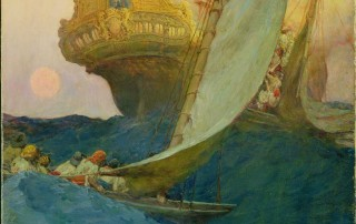 """An Attack on a Galleon,"" Howard Pyle, 1905. Oil on canvas, 29 1/2"" x 19 1/2"" Delaware Art Museum, Museum Purchase, 1912"