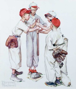 """Four Sporting Boys: Baseball,"" Norman Rockwell, 1951. 13 1/2"" x 12"". Collection of Williams High School Alumni Association on permanent loan to Norman Rockwell Museum. ©NRELC: Niles, IL."